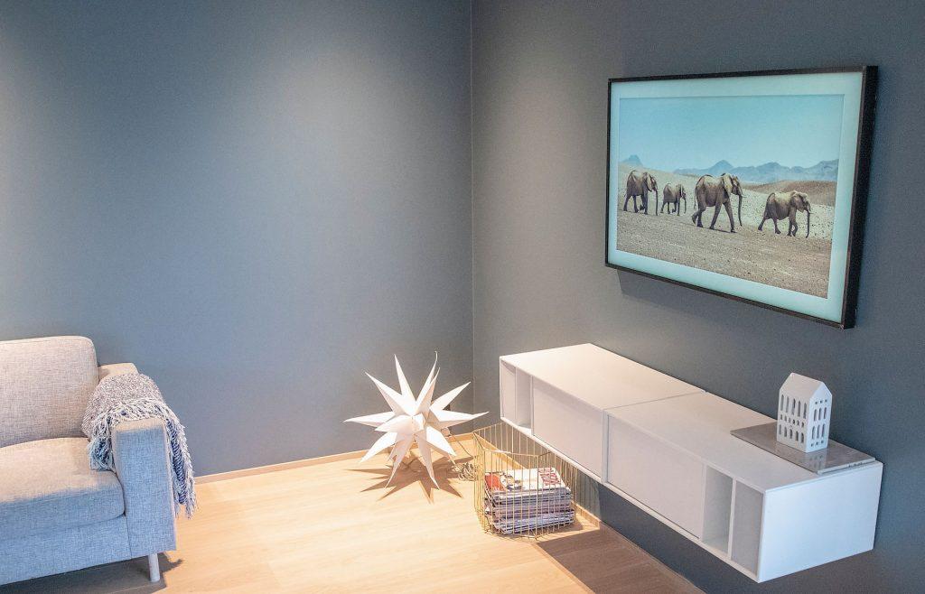 TV'en er i øyeblikket stilt inn på «kunst», og det ser ut som er vanlig bilde.